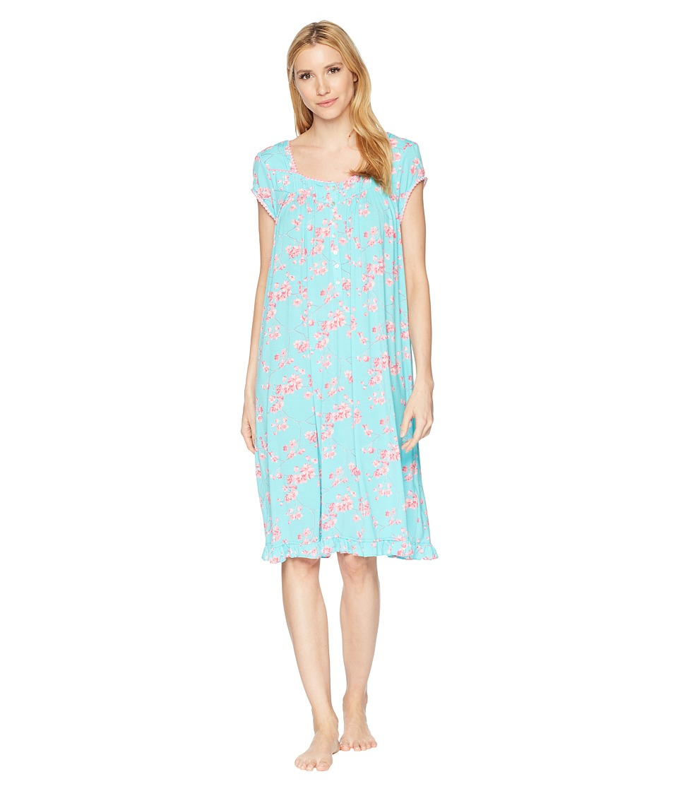 Eileen West - Modal Floral Cherry Blossoms Print Waltz Nightgown (Dark Aqua Ground/Cherry Blossoms) Womens Pajama