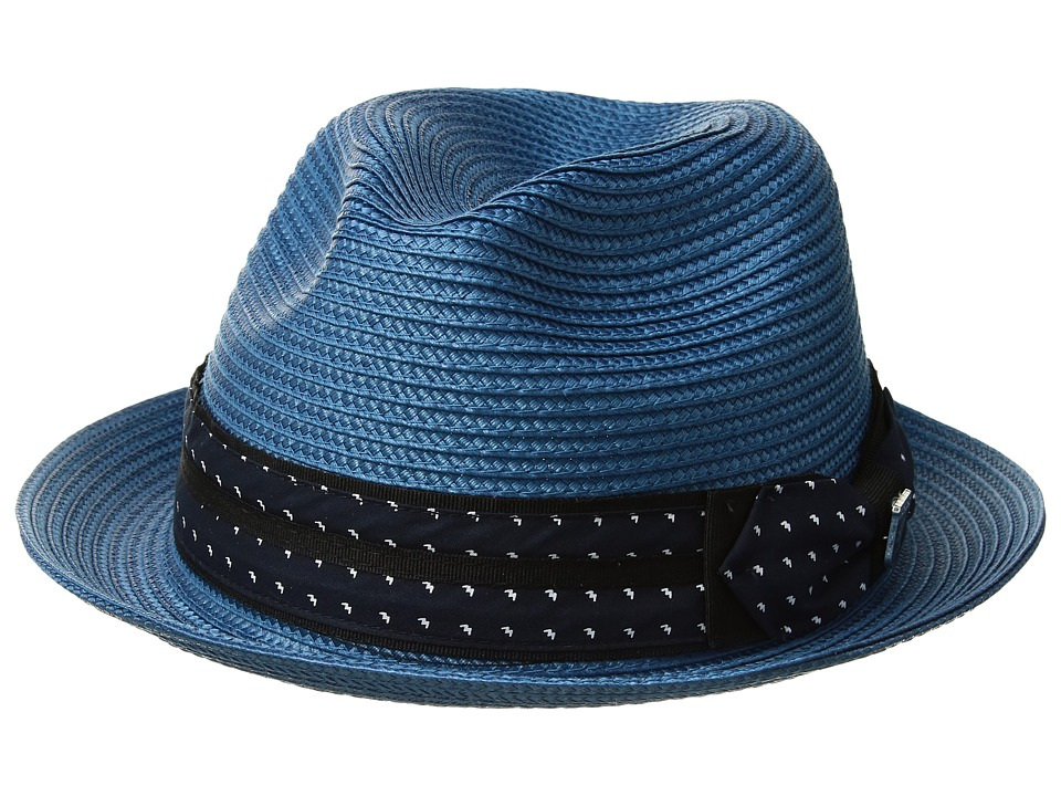 Stacy Adams - Poly Braid Pinch Front Fedora with Fancy Bow (Pacific Blue) Caps