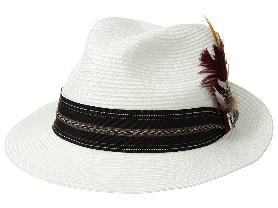 Stacy Adams - Poly Braid Pinch Front Fedora with Fancy Band (White) Caps