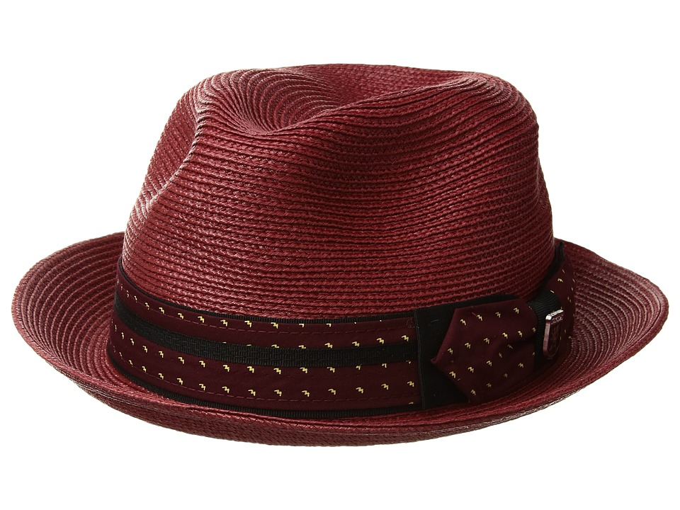 Stacy Adams Poly Braid Pinch Front Fedora with Fancy Bow (Wine) Caps