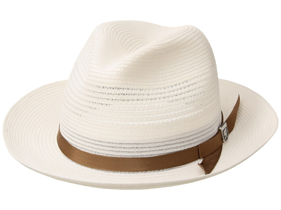 Stacy Adams - Vented Poly Braid Fedora (White) Caps