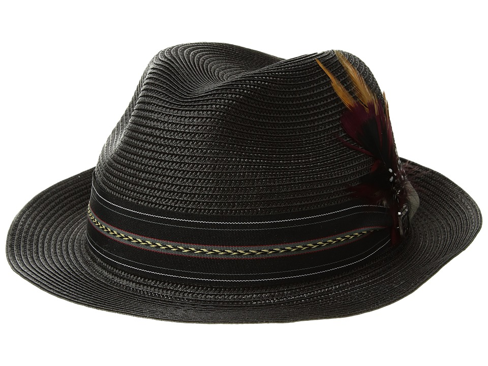 Stacy Adams Poly Braid Pinch Front Fedora with Fancy Band (Black) Caps
