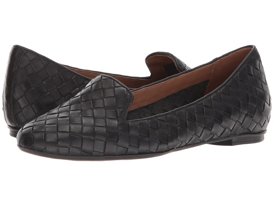French Sole Admire (Black Woven Leather) Women's Dress Flat Shoes