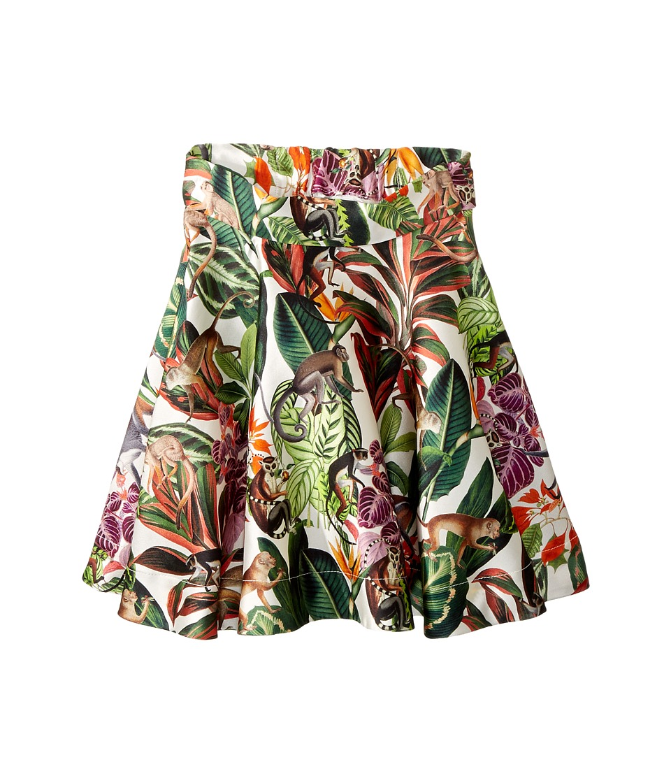Oscar de la Renta Childrenswear - Mikado Jungle Monkeys New Skirt (Toddler/Little Kids/Big Kids) (Jungle Green) Girls Skirt