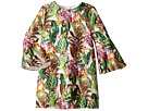 Oscar de la Renta Childrenswear Mikado Jungle Monkeys Bell Sleeve Dress (Toddler/Little Kids/Big Kids)