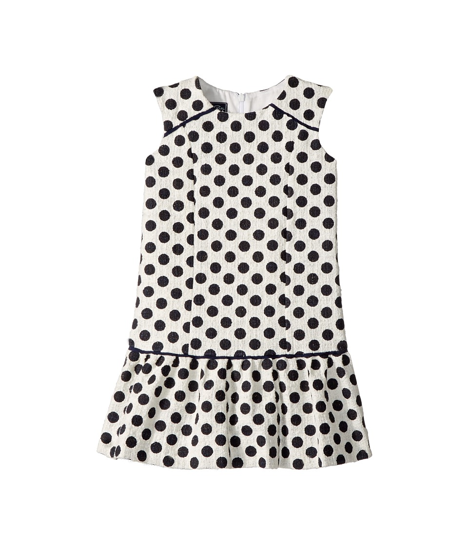 Oscar de la Renta Childrenswear - Dots On Tweed Drop Waist Dress (Toddler/Little Kids/Big Kids) (Navy/White) Girls Dress