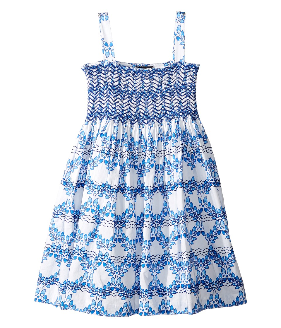 Oscar de la Renta Childrenswear - Cotton Leaf Grid Smocked Dress (Toddler/Little Kids/Big Kids) (White/Peacock) Girls Dress