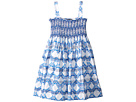 Oscar de la Renta Childrenswear Cotton Leaf Grid Smocked Dress (Toddler/Little Kids/Big Kids)