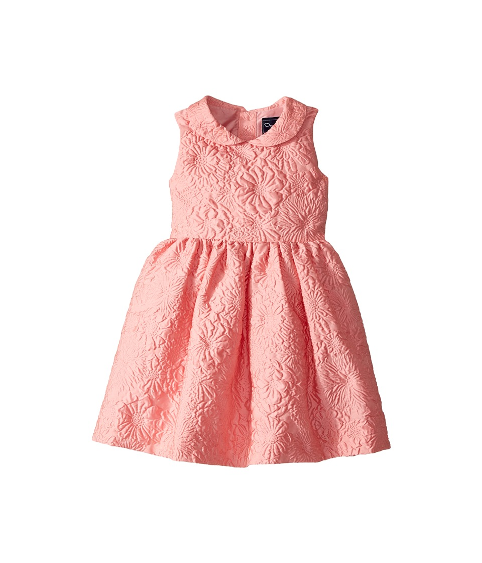 Oscar de la Renta Childrenswear - Bubble Flower Jacquard Gathered Sleeve Dress (Toddler/Little Kids/Big Kids) (Peony) Girls Dress