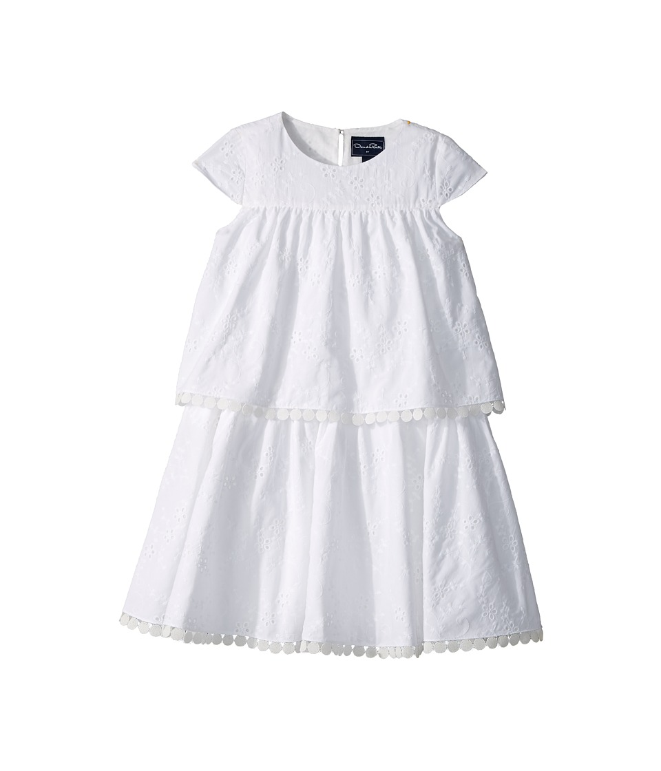 Oscar de la Renta Childrenswear - Cotton Flower Eyelet Tiered Dress (Toddler/Little Kids/Big Kids) (White) Girls Dress