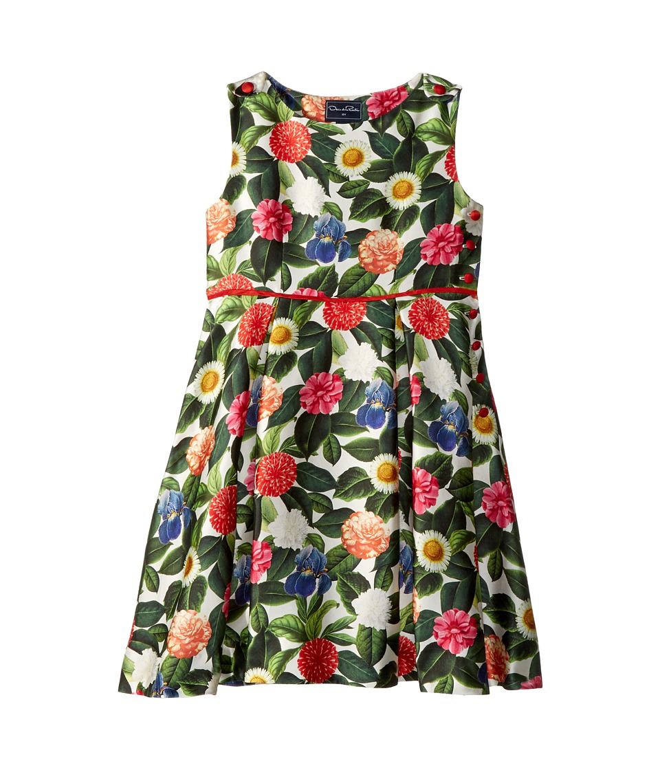 Oscar de la Renta Childrenswear - Mikado Flower Jungle Button Dress with Pleats (Toddler/Little Kids/Big Kids) (Spring Green) Girls Dress