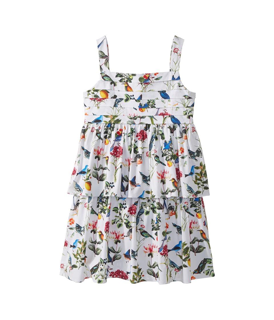 Oscar de la Renta Childrenswear - Cotton Botanical Birds Pleated Dress (Toddler/Little Kids/Big Kids) (White Multi) Girls Dress