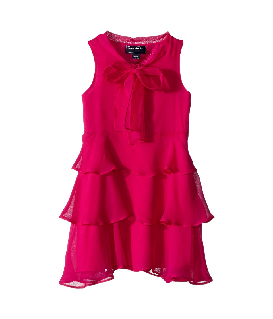 Oscar de la Renta Childrenswear - Chiffon Bow Tiered Dress (Toddler/Little Kids/Big Kids) (Fuchsia) Girls Dress