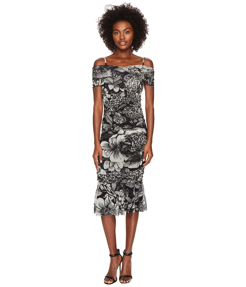 FUZZI - Short Sleeve Off Shoulder Dress In Botanic (Nero) Womens Dress