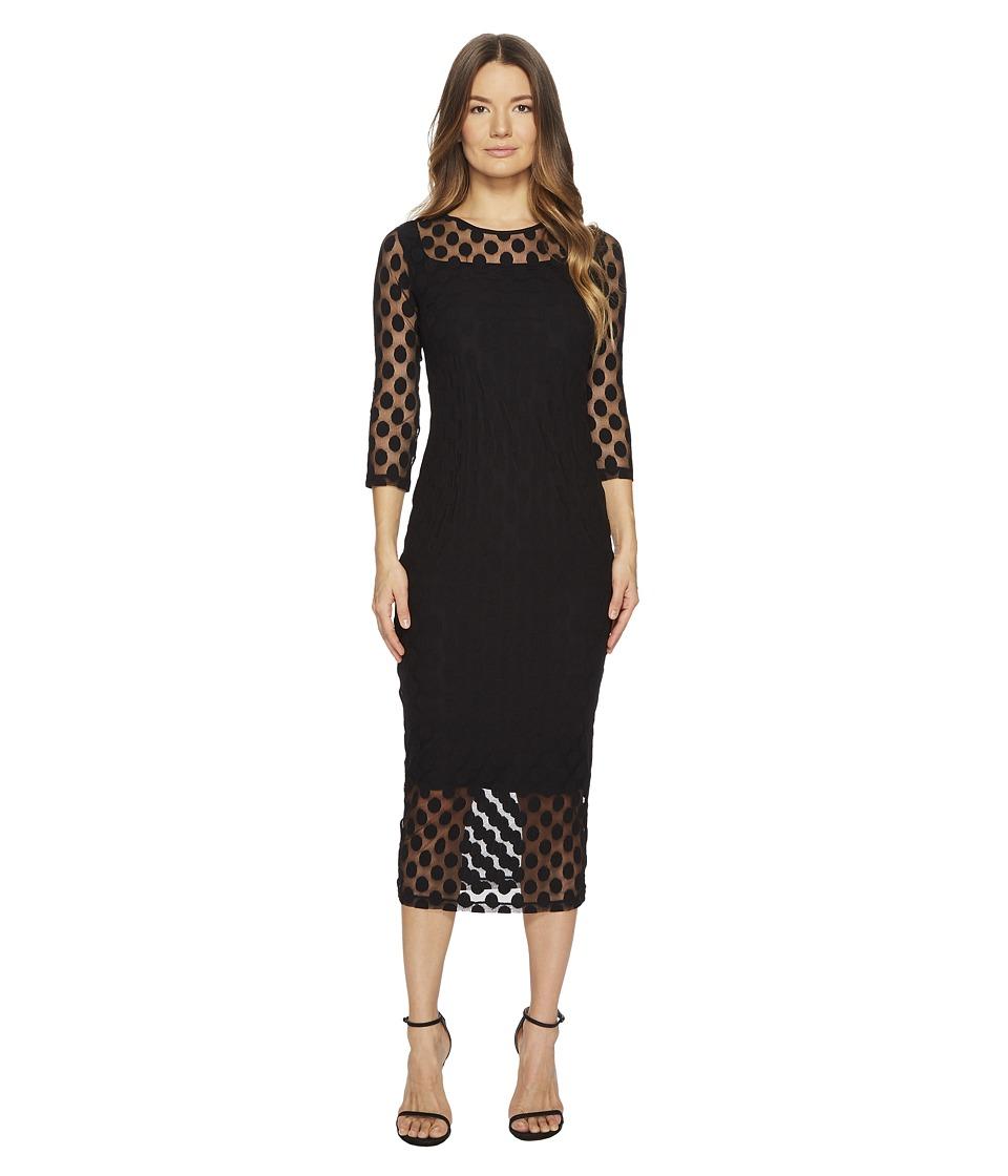 FUZZI - 3/4 Sleeve Poka Dots Dress (Nero) Womens Dress