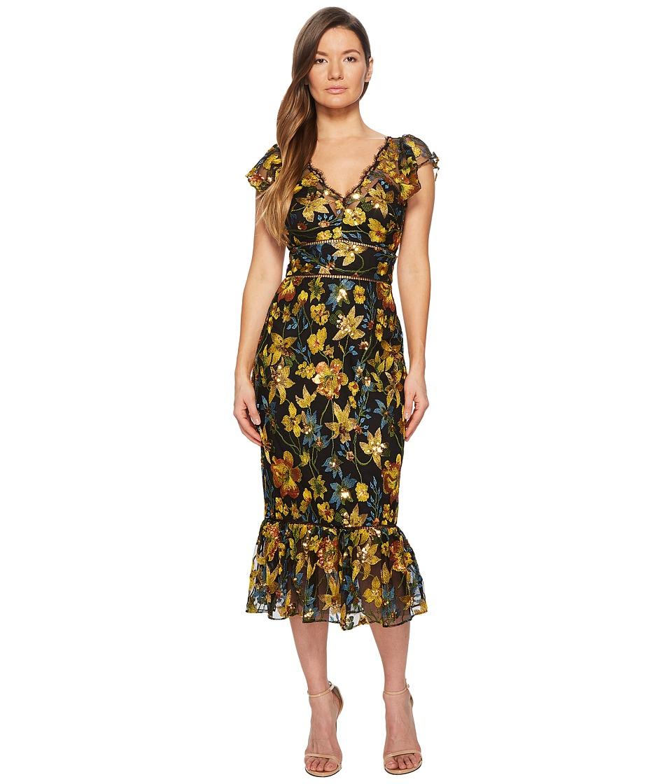 Marchesa Notte - Flutter Sleeve Thread Embroidered Cocktail Dress (Black) Womens Dress