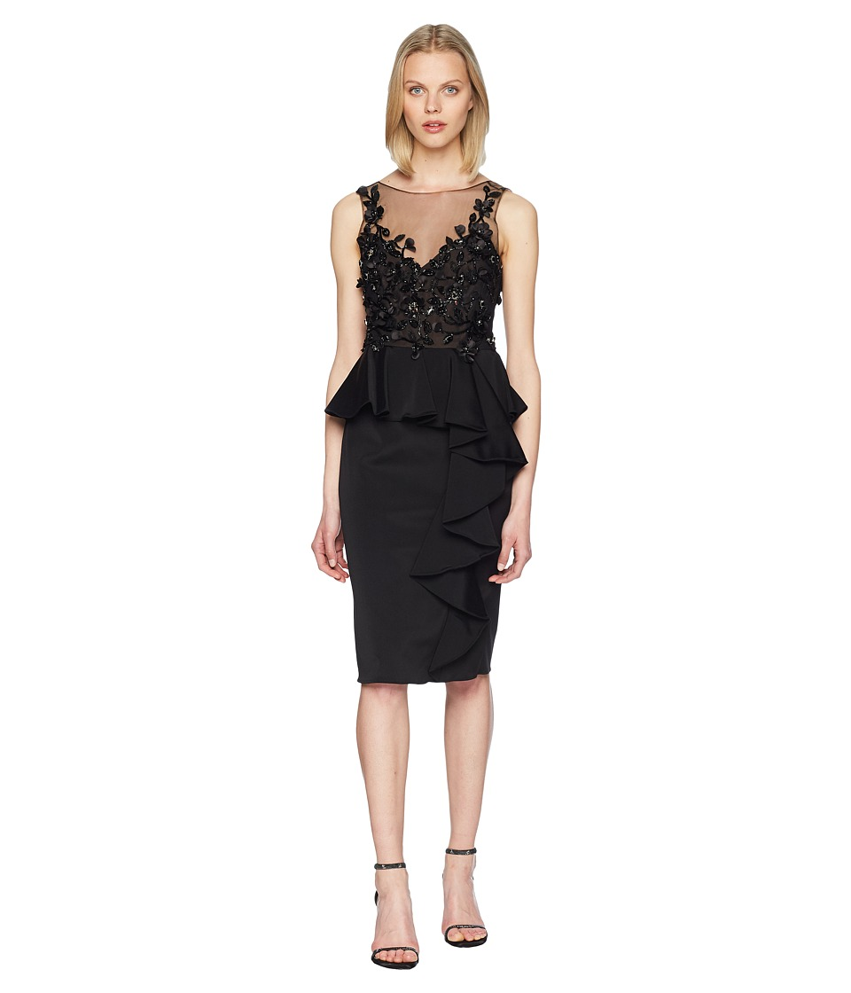 Marchesa Notte - Sleeveless Embroidered Stretch Faille Cocktail w/ 3D Beading and Ruffles (Black) Womens Dress