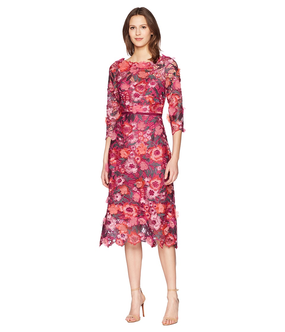Marchesa Notte - 3/4 Length Sleeve 3D Floral Guipure Lace Tea Length Cocktail Dress (Berry) Womens Dress