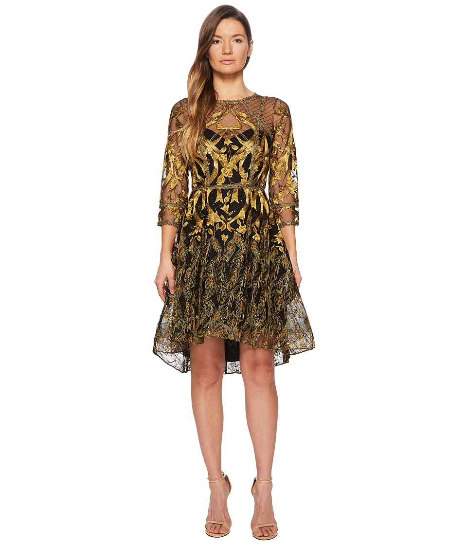 Marchesa Notte - 3/4 Length Sleeve Embroidered Hi-Lo Cocktail w/ Metallic Lace Trim (Black) Womens Dress