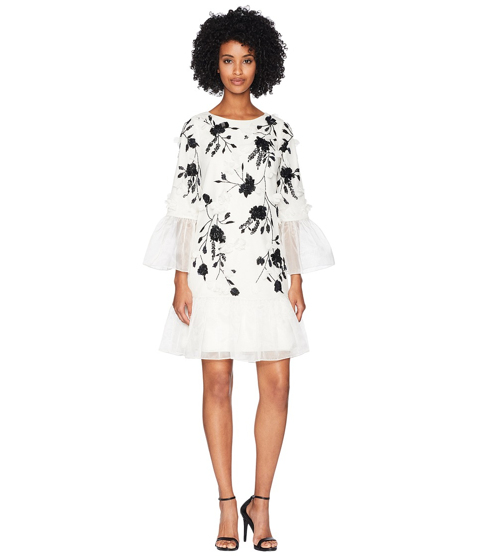 Marchesa Notte - 3/4 Sleeve All Over Beaded Tunic w/ 3D Flowers and Organza Ruffles (Ivory) Womens Dress