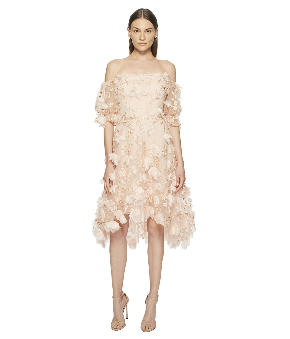 Marchesa Notte - Off the Shoulder 3D Embroidered Cocktail w/ Blouson Sleeves (Blush) Womens Dress