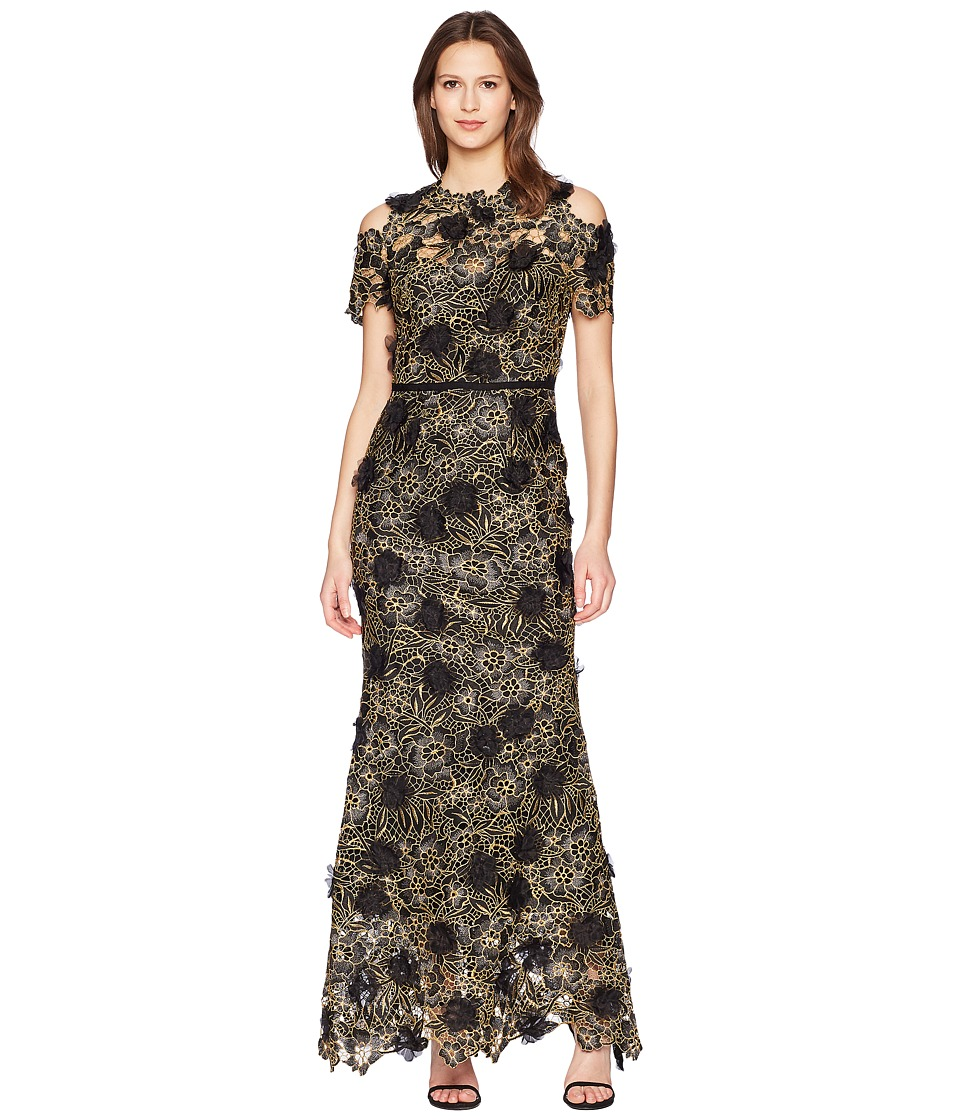 Marchesa Notte - Cold Shoulder 3D Floral Giupure Lace Gown (Black) Womens Dress