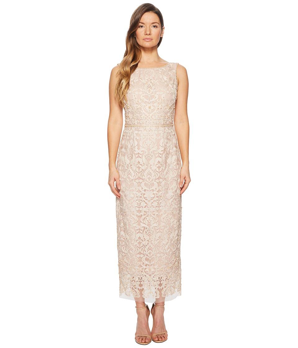 Marchesa Notte - Sleeveless Metallic Embroidered Shift w/ Degrade Pearls and Beaded Waistband (Blush) Womens Dress