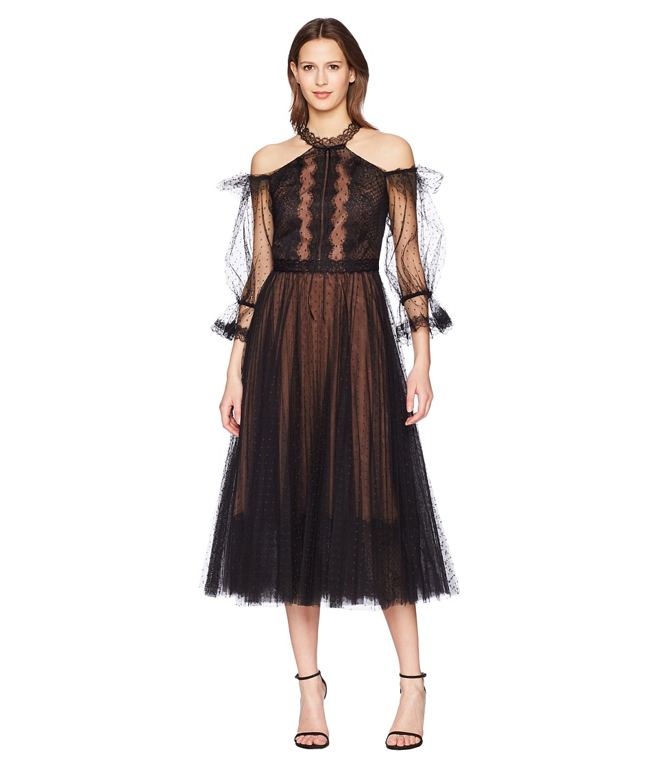 Marchesa Notte - Cold Shoulder Point-DEsprit Tea Length Cocktail (Black) Womens Dress