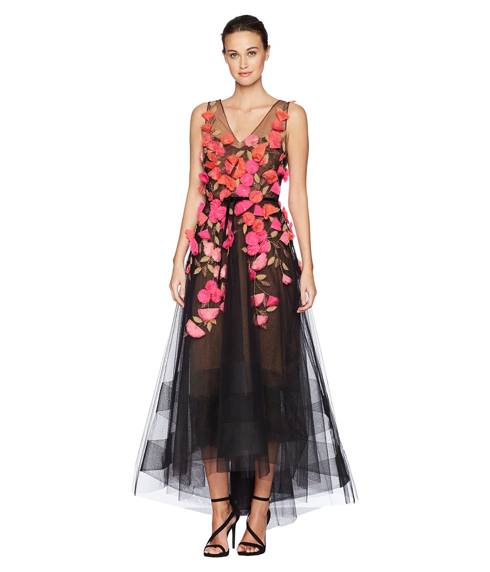 Marchesa Notte - Sleeveless V-Neck Hi-Lo Gown w/ 3D Degrade Flowers (Black) Womens Dress