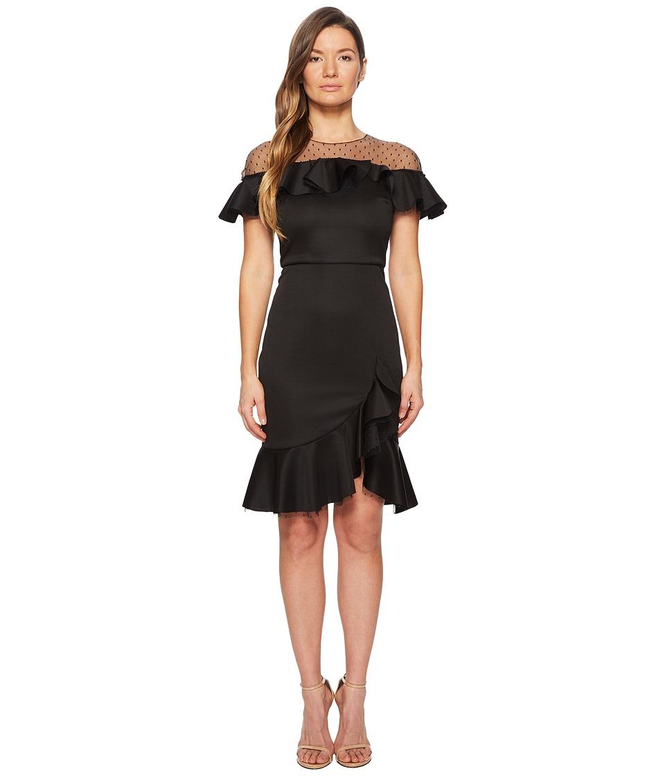 Marchesa Notte - Neoprene Cocktail w/ Point-DEsprit Hoke and Ruffles (Black) Womens Dress