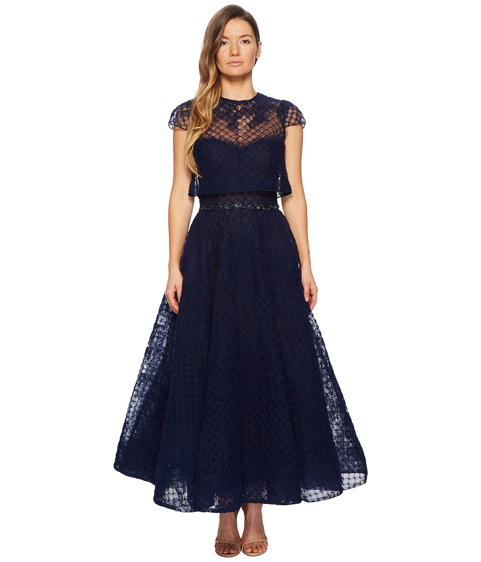 Marchesa Notte - Honeycomb Textured Tulle Tea Length Gown w/ Short Sleeve Overlay (Navy) Womens Dress