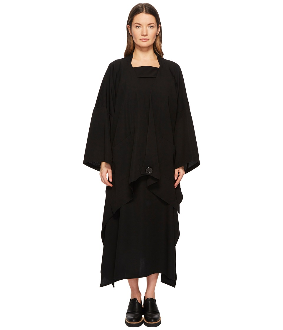 Limi Feu - Long Rib Gabardine Open Front Cardigan (Black) Womens Sweater
