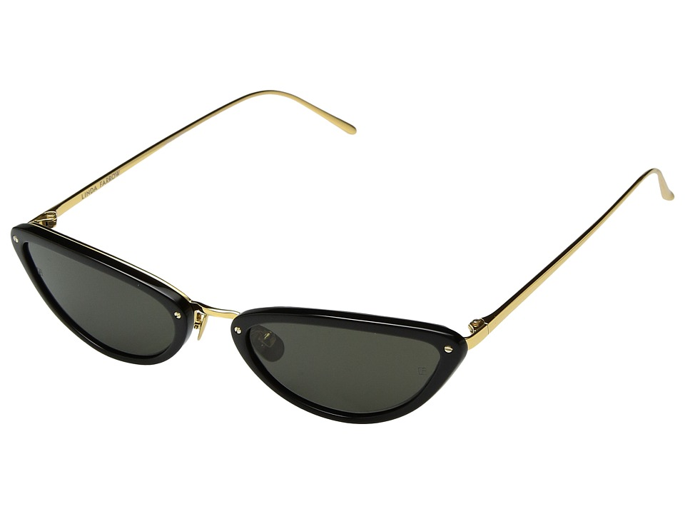 Linda Farrow Luxe - LFL709C1SUN Yellow Gold Black Minis (Black) Fashion Sunglasses