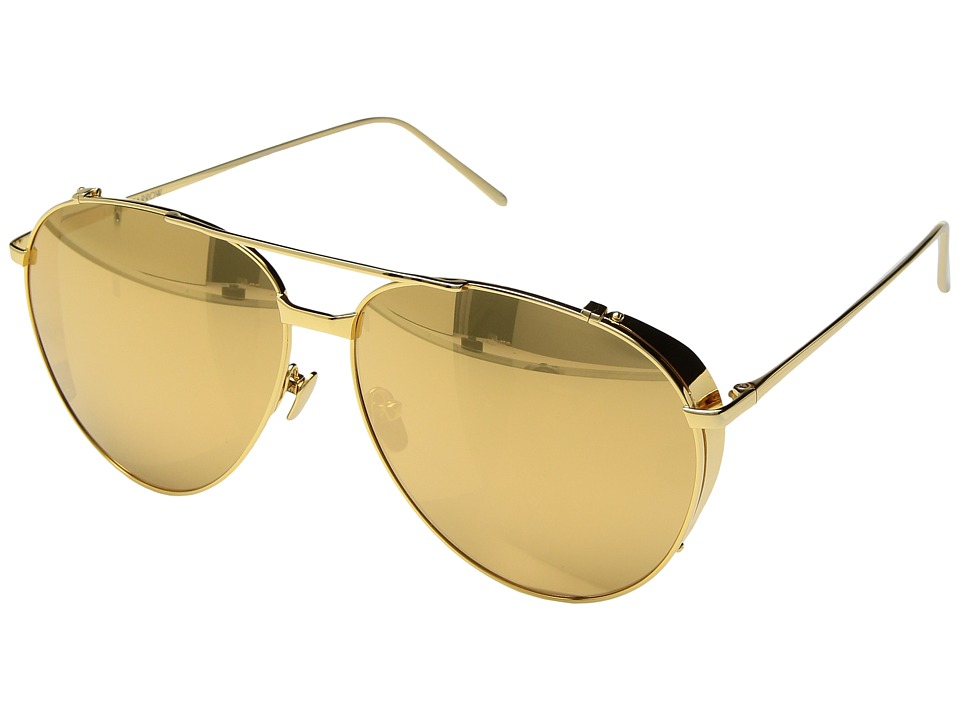 Linda Farrow Luxe - LFL425C1SUN Aviators (Yellow Gold) Fashion Sunglasses