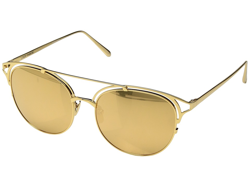 Linda Farrow Luxe - LFL682C1SUN Double Bars (Yellow Gold) Fashion Sunglasses