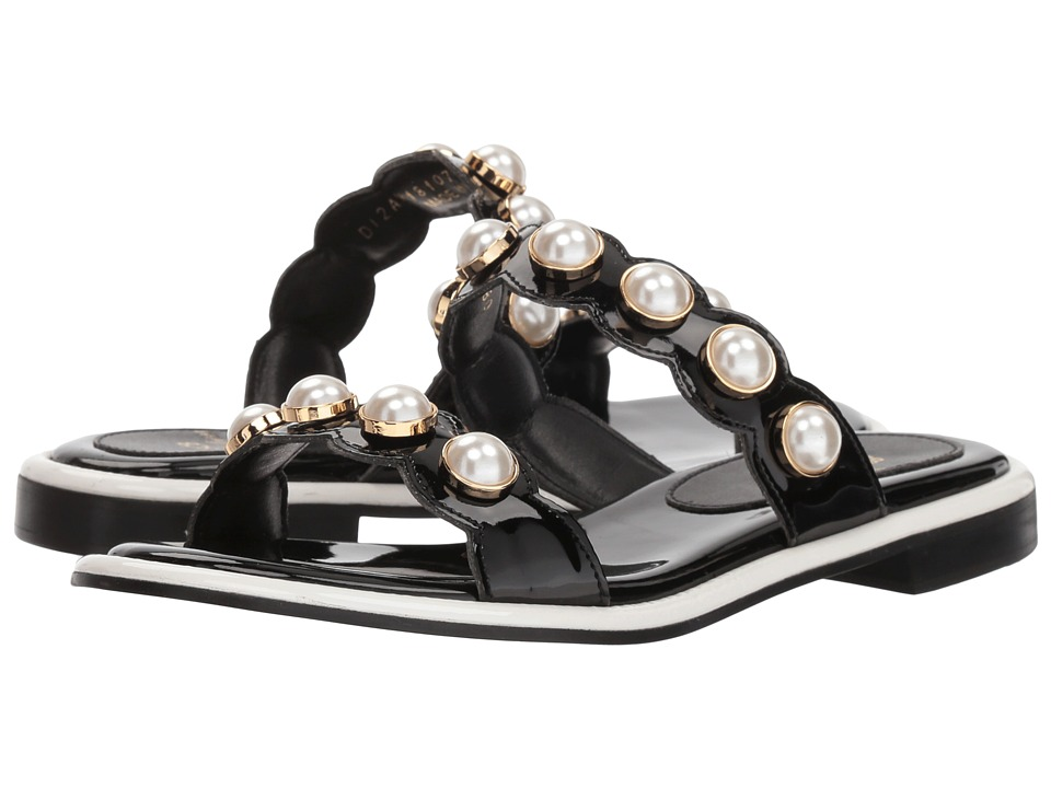 Suecomma Bonnie Pearl Ornament Flat Sandals (Black) Sandals
