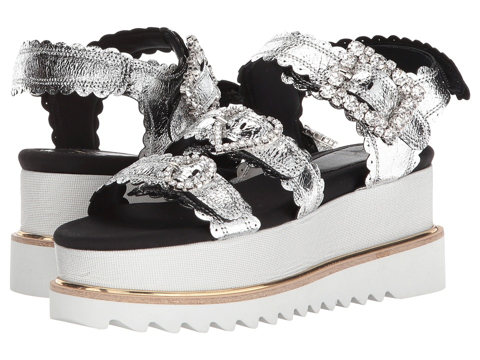 Suecomma Bonnie Jewel Buckle Platform Sandals (Silver) Sandals