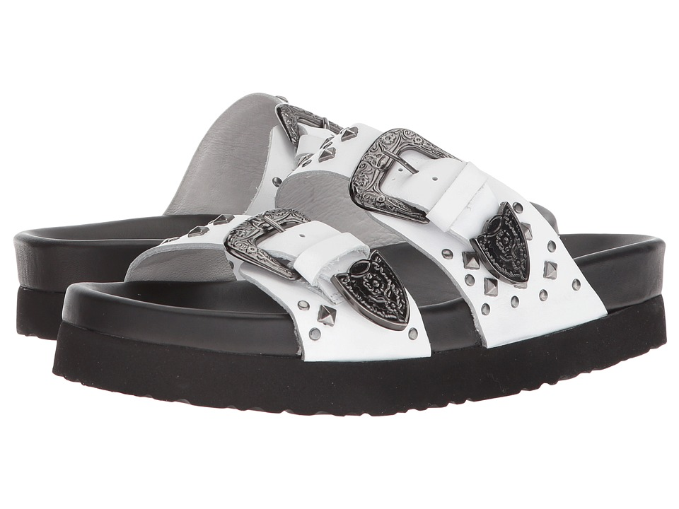 The Kooples Leather Sandal with Studs (White) Women