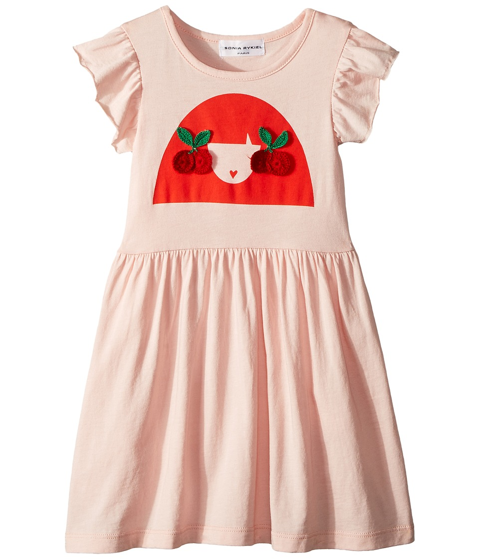 Sonia Rykiel Kids - Ayal Dress w/ Cherry Rykiel Girl Design on Front (Toddler/Little Kids/Big Kids) (Opera) Girls Dress