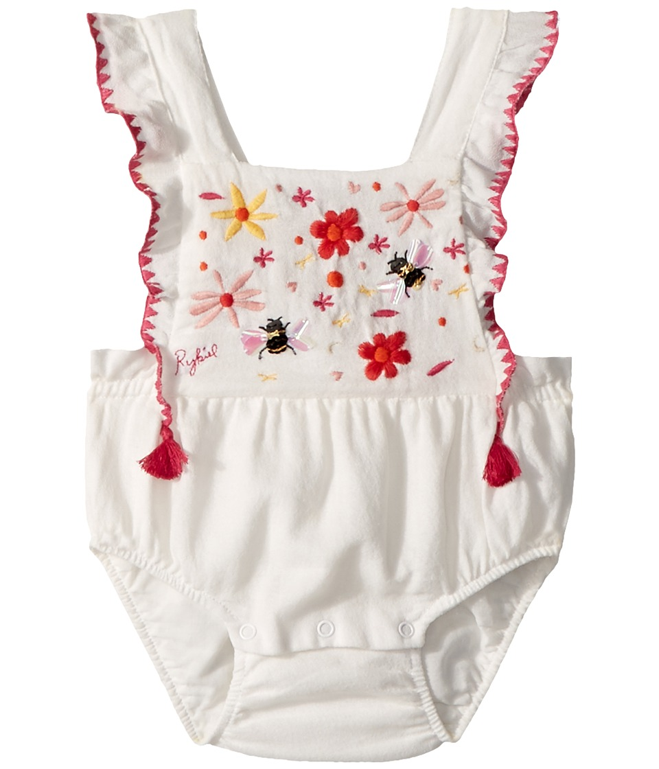 Sonia Rykiel Kids - Anemone Floral Embroidered Romper (Infant) (Vanilla) Girls Jumpsuit & Rompers One Piece