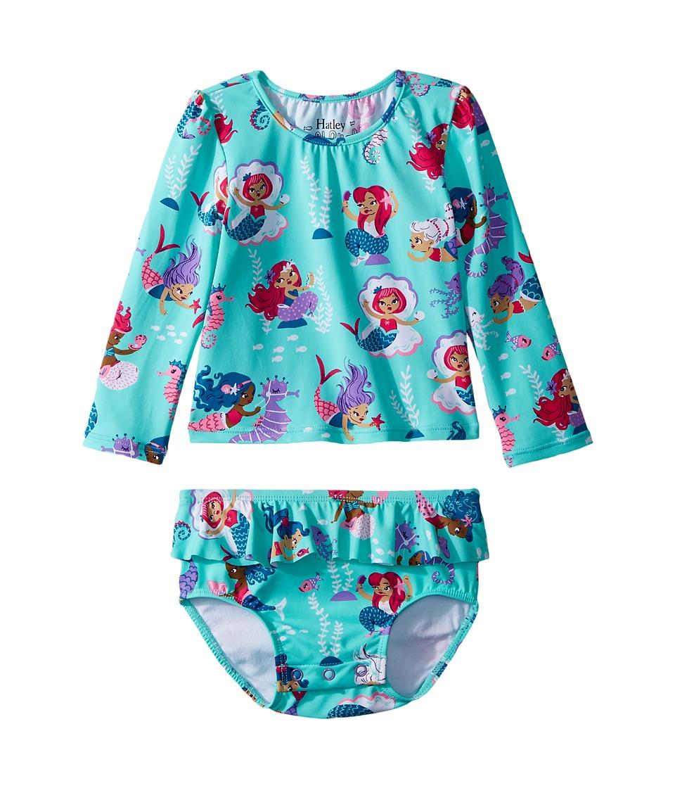 Hatley Kids Underwater Kingdom Mini Rashguard Set (Infant) (Aqua) Girl