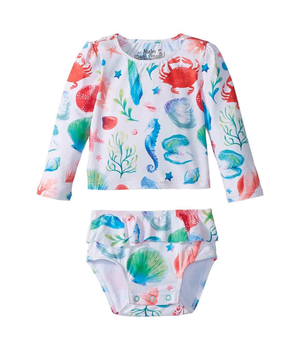 Hatley Kids Ocean Treasures Mini Rashguard Set (Infant) (White) Girl