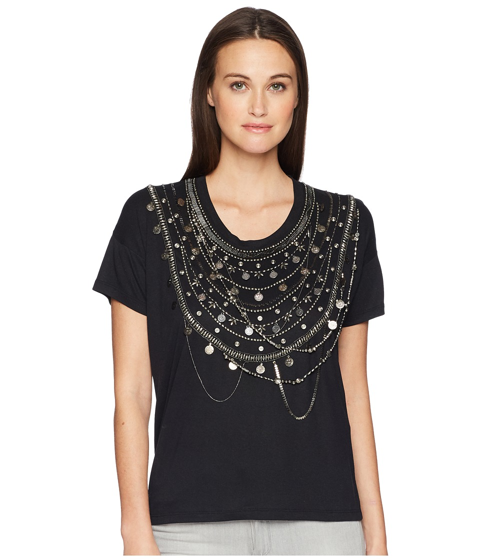 The Kooples - T-Shirt with A Dickey at The Collar (Black)...