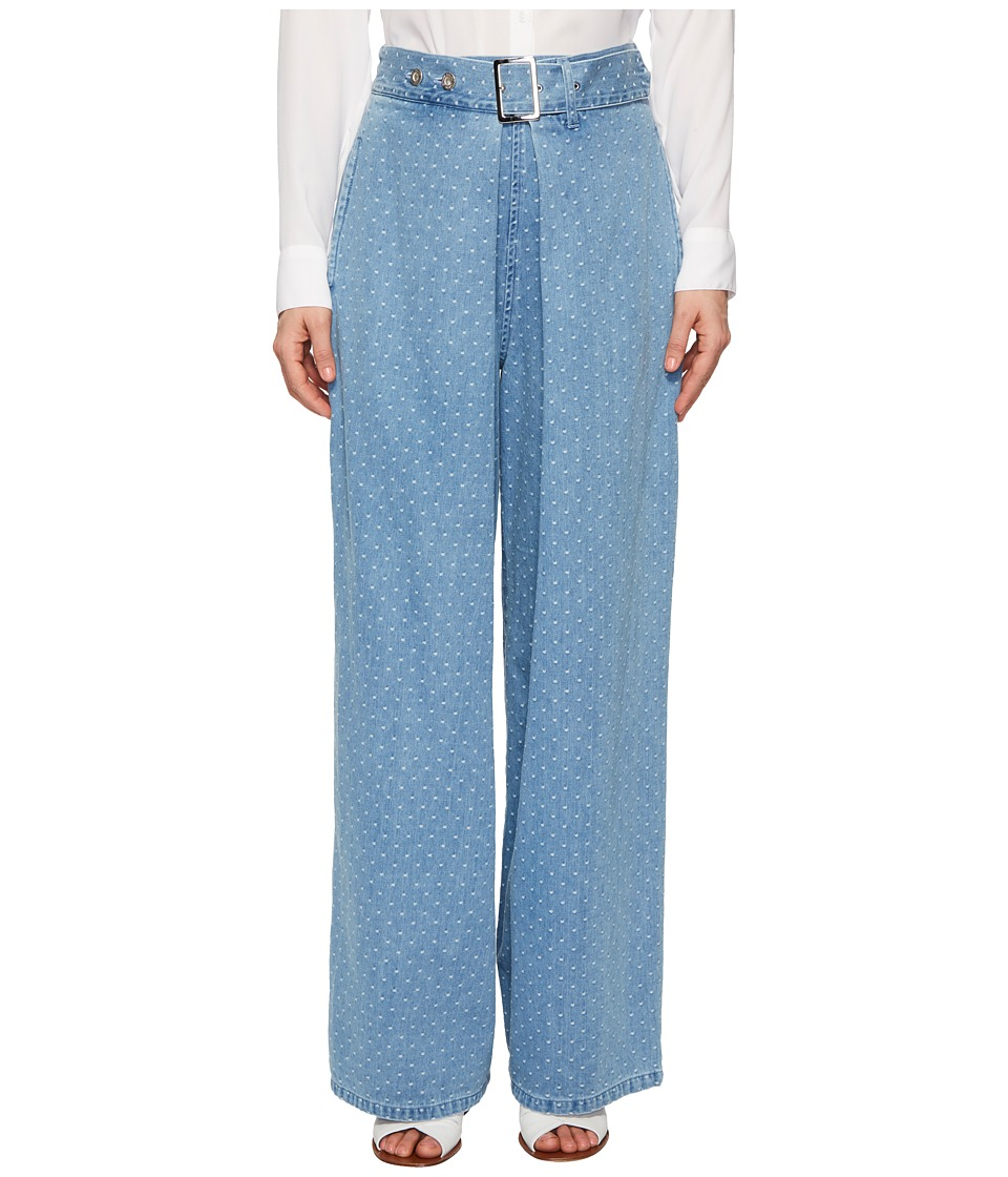 Limi Feu - Belt Tuck Layered Front Denim (Light Blue) Womens Jeans