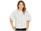 Vince Camuto Specialty Size Petite Tiered Ruffle Sleeve Stripe Theory Blouse