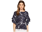 Vince Camuto Tiered Ruffle Sleeve Fresco Petals Blouse