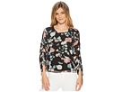 Vince Camuto Drawstring Sleeve Floral Gardens Blouse