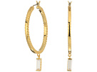Cole Haan Metal Hoop with Cubic Zirconia Baguette Drop Earrings
