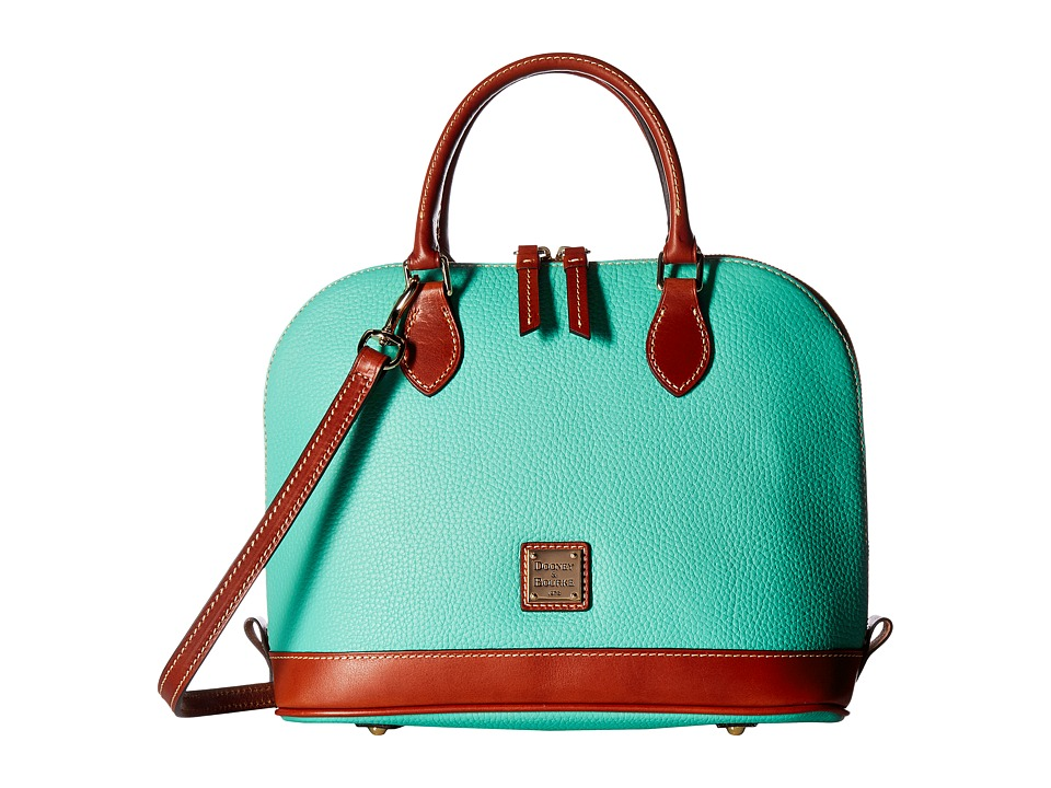 Dooney & Bourke - Pebble Zip Zip Satchel (Jade/Tan Trim) Satchel Handbags