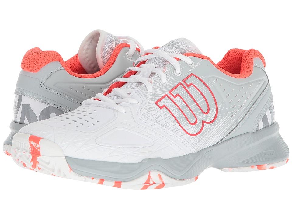 Wilson Kaos Composite (White/Pearl Blue/Fiery Coral) Women's Tennis Shoes